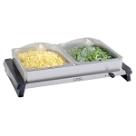 BroilKing Pro Double Buffet Server - SS /W Plastic Lids