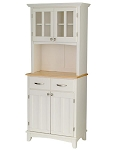 Home Styles Small White Buffet /2-Door Hutch /W Natural Top