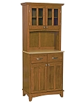 Home Styles Small Cottage Oak Buffet /2-Door Hutch /W Natural Top