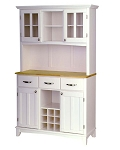 Home Styles Large White Buffet /2-Door Hutch /W Natural Top