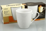 Konitz Maxi Mugs/Saucers - White Set/2 - 13 oz