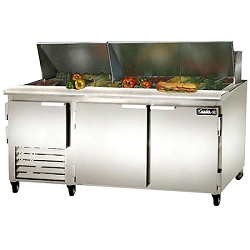 "Leader LM72- 72"" Stainless Steel Sandwich Prep Refrigerator Bain Marie, 26.2 Cu.Ft."