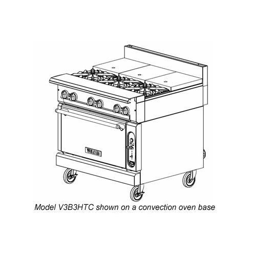 "Vulcan V3B3HTC Gas 36"" 3 Burner Heavy Duty Range w. Hot Top, Convection Oven"
