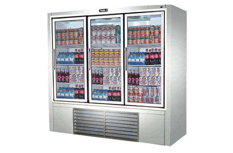 "Leader PS79- 79"" Swinging Glass Door Reach In Refrigerator/ Self Contained, 58.1 Cu.Ft."