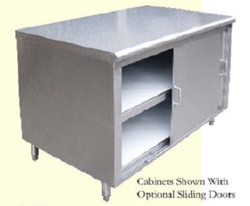 "Evoo (EST-330-108) Stainless Steel Storage/Dish Cabinet - Optional Doors - 108"" X 30"""