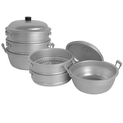 "Thunder Group ALST003-  Small Hole 11"" Aluminum Steamer w/ Bottom and Lid"