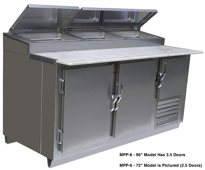 Universal Coolers MPP-8 - Pizza Prep Table - Marble Top - 96
