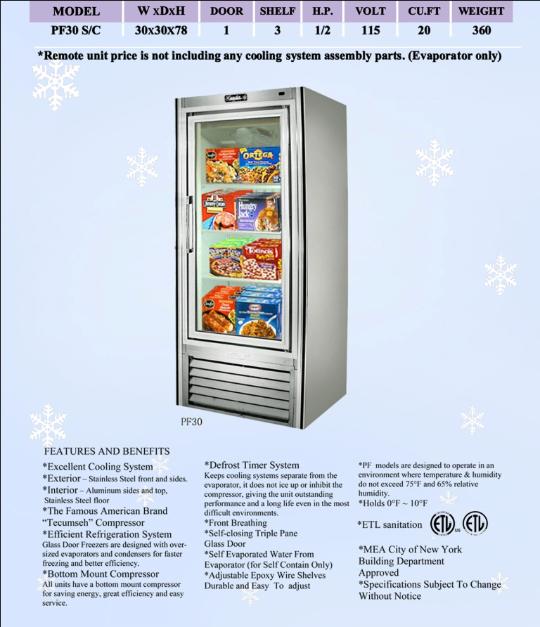 leader pf30 30 swinging glass door reach in freezer self rh kitchenemporium com