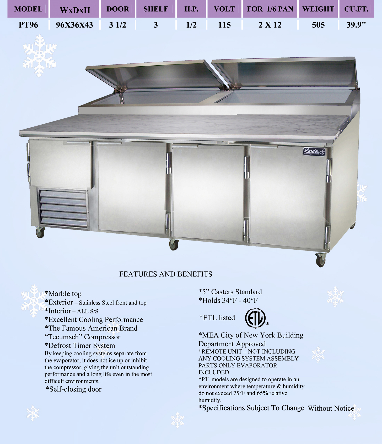 Leader Pt96 M 96 Quot Refrigerated Pizza Prep Table Marble