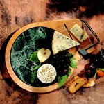 Prodyne Beechwood Contour Cheese Tray/ Green Marble