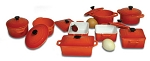 Paderno 4pc Set Orange Dutch Oven W/ Lids