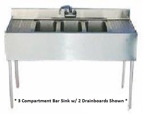 "Evoo (EBAR1014-3R-24) Stainless Steel 60"" Bar Sink with 3 compartments and drainboard on the right"