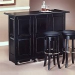 Home Styles Swing Open Portable Bar - Black Finish