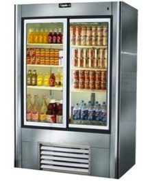 "Leader LS38- 38"" Sliding Glass Door Reach In Refrigerator/ Self Contained, 26 Cu.Ft."