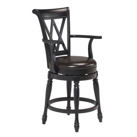 Home Styles Traditional Swivel Bar Stool - Black
