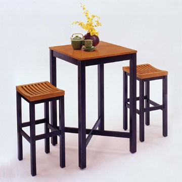 Home Styles 3 Pc. Set Solid Wood Bar Table W/2 Stools - Black/Oak Top
