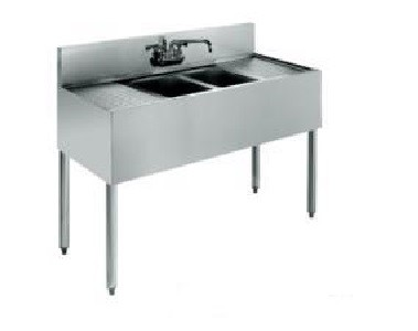 "Evoo (EBAR1014-2RL) Stainless Steel 48"" Bar Sink with 2 compartments and drainboard on both sides"