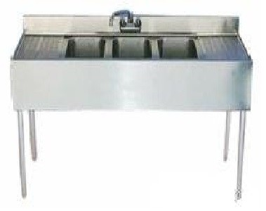 "Evoo (EBAR1014-3RL-18) Stainless Steel 72"" Bar Sink with 3 compartments and drainboard on both sides"