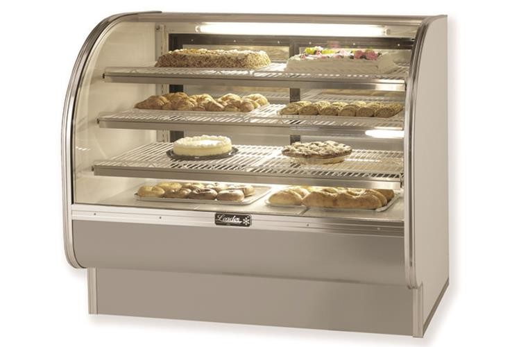 "Leader CVK57- 57"" Refrigerated Curved Glass Bakery Display Case/ Self Contained, Pastry & Donut Display"