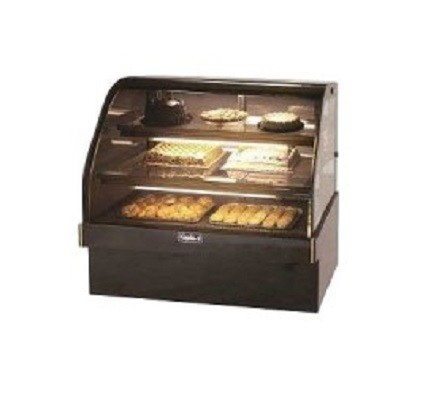 "Leader MCB48- 48"" Marble Curved Refrigerated Bakery Display Case - Self Contained, Pastry & Donut Display"