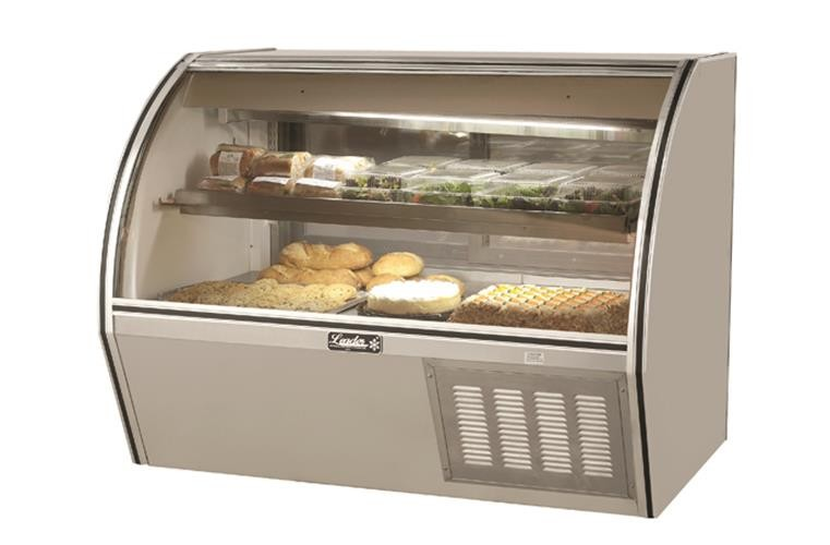 "Leader NRCD60- 60"" Refrigerated Curved Glass Deli Display Case/ Self Contained"