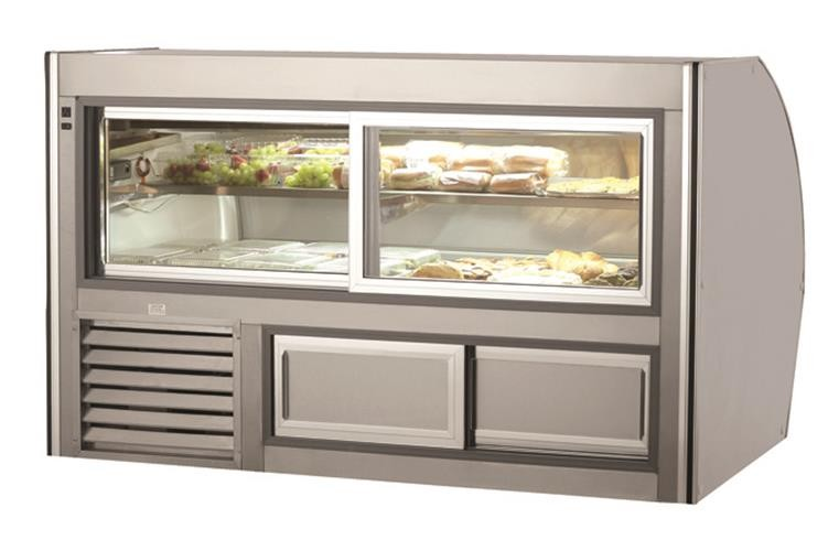 "Leader NRCD72- 72"" Refrigerated Curved Glass Deli Display Case/ Self Contained"