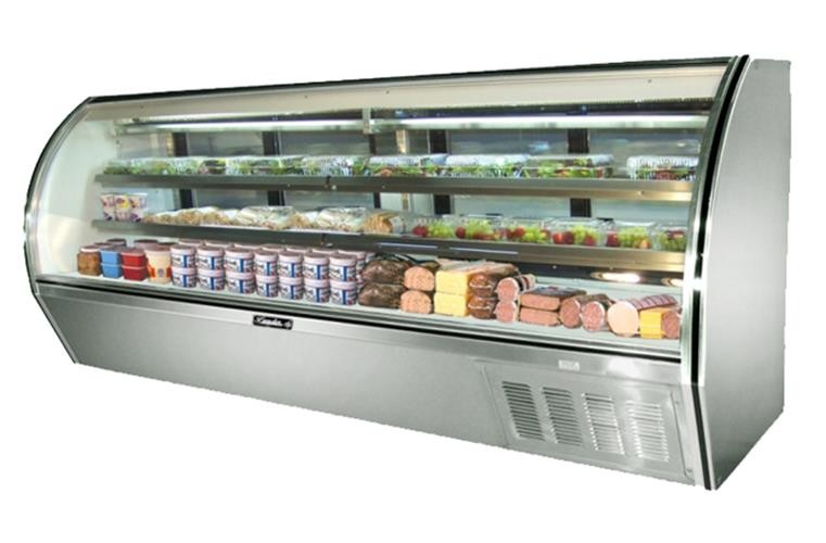 "Leader NRHD118- 118"" Curved Glass High Deli Case/ Self Contained"