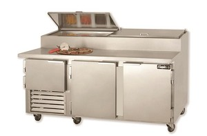 "Leader PT72-M - 72"" Refrigerated Pizza Prep Table - Marble Top, 24.6 Cu.Ft."