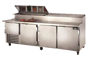 "Leader PT96-M - 96"" Refrigerated Pizza Prep Table - Marble Top, 39.9 Cu.Ft."