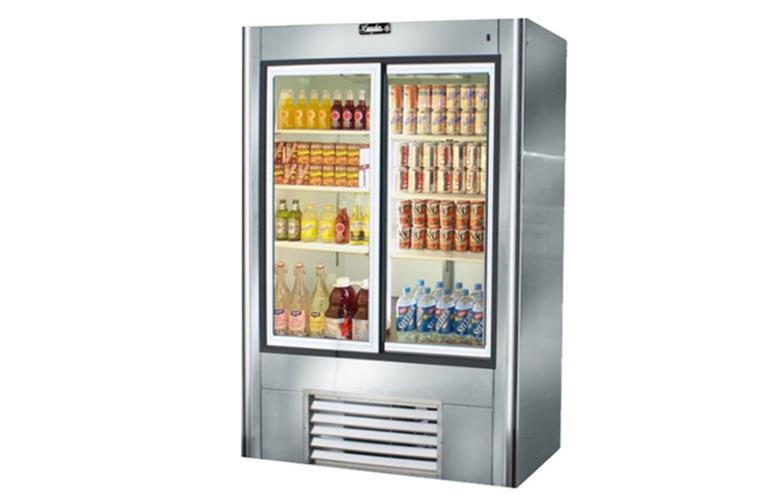 "Leader LS48- 48"" Sliding Glass Door Reach In Refrigerator/ Self Contained, 34 Cu.Ft."