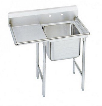 "Evoo (EDD1818-1L) Stainless Steel 38.5"" Deep-Drawn Sink One (1)  Compartment  with Left  Drainboard"
