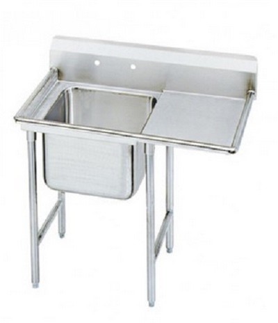 "Evoo (EDD1818-1R) Stainless Steel 38.5"" Deep-Drawn Sink One (1) Compartment  with Right Drainboard"