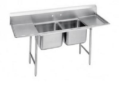"Evoo (EDD1620-2RL) Stainless Steel 18"" Deep-Drawn Sink Two Compartment with Two  Drainboard"