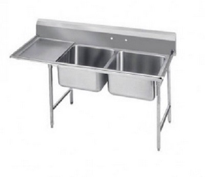 "Evoo (EDD1818-2L) Stainless Steel 58.5"" Deep-Drawn Sink Two Compartment with Left  Drainboard"