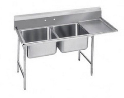 "Evoo (EDD2424-2R-14D) Stainless Steel 76.5"" Deep-Drawn Sink Two Compartment with Right Drainboard"