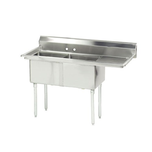 "Evoo (ELJ1824-2R) Stainless Steel 62.5"" X 30"" Two Compartment Sink with Right Drainboard"