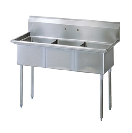 "Evoo (ESK2116-3) Stainless Steel 51"" X 24.5""  Square Corner Utility Sink"