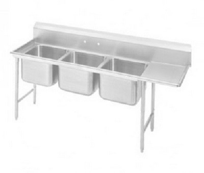 "Evoo (EDD1620-3R) Stainless Steel 70.5"" Deep-Drawn Sink Three Compartment with Right Drainboard"