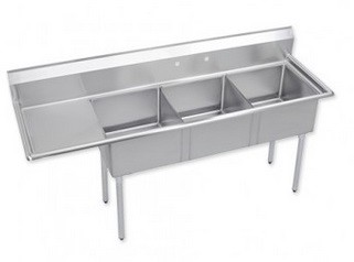 "Evoo (ELJ1416-3L) Stainless Steel 58.5"" X 22"" Three Compartment Sink with Left Drainboard"