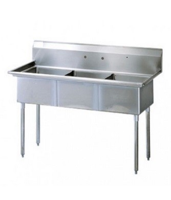 "Evoo (ELJ1216-3) Stainless Steel 41"" X 22"" Three Compartment Sink"