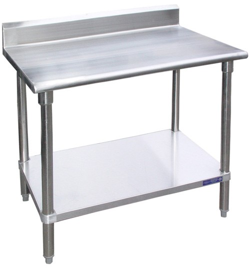 "Evoo (B5EVS2496) 96"" X 24"" Stainless Steel Work Table with Stainless Steel Undershelf with 5"" Back Splash, Prep Table"