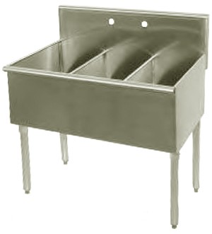 "Evoo (EBS1512-3) Stainless Steel 36"" X 18.5""  Three Compartment Budget Sink"