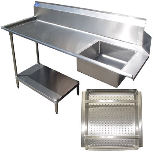 "Evoo (EDHST-S120L) 120"" Left Soiled Dish Table with Stainless Steel  Undershelf & Legs"