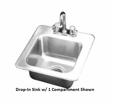 "Evoo (EDIS2217-7D) Stainless Steel 17"" X 22"" Drop-In Sink with One (1) Compartment with Faucet"