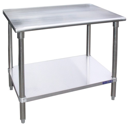 "Evoo (EVG1424) 24"" X 14"" Stainless Steel Work Table with Galvanized Undershelf, Prep Table"