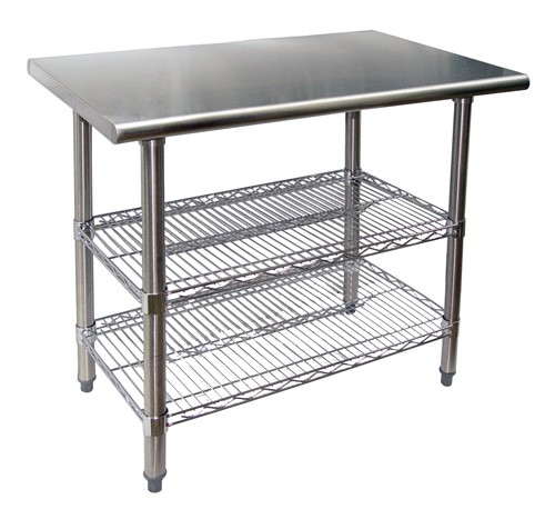 Evoo Evts2424 24 Stainless Steel Work Table With 2 Adjule Chrome Wire Under Shelves Prep