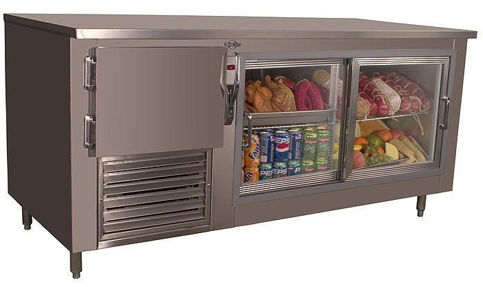 Universal Coolers LB60G - Low Boy Under Counter Refrigerator- Sliding Glass Doors - 60""