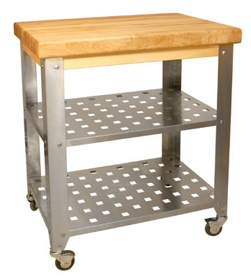 Catskill Craftsmen Stainless Steel Butcher Block Cart